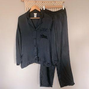 La Senza 100% Black Silk Top & Pants Pyjama Set